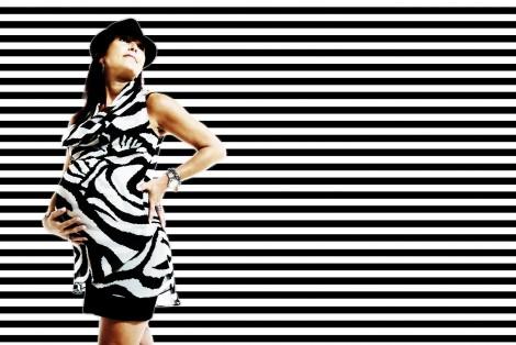 Schwangerschaftsportrait mit Hut, Montage Hintergrund