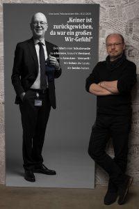 Leinwandportrait Polizeipräsident Köln Uwe Jacob mit Statement zum Projekt #derstadtbestes von #thomasahrendt #studio157