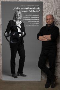 Das Leinwandportrait von CEO der KVB AG Stefanie Haaks beim Projekt #derstadtbestes von Thomas Ahrendt, STudio157, Köln